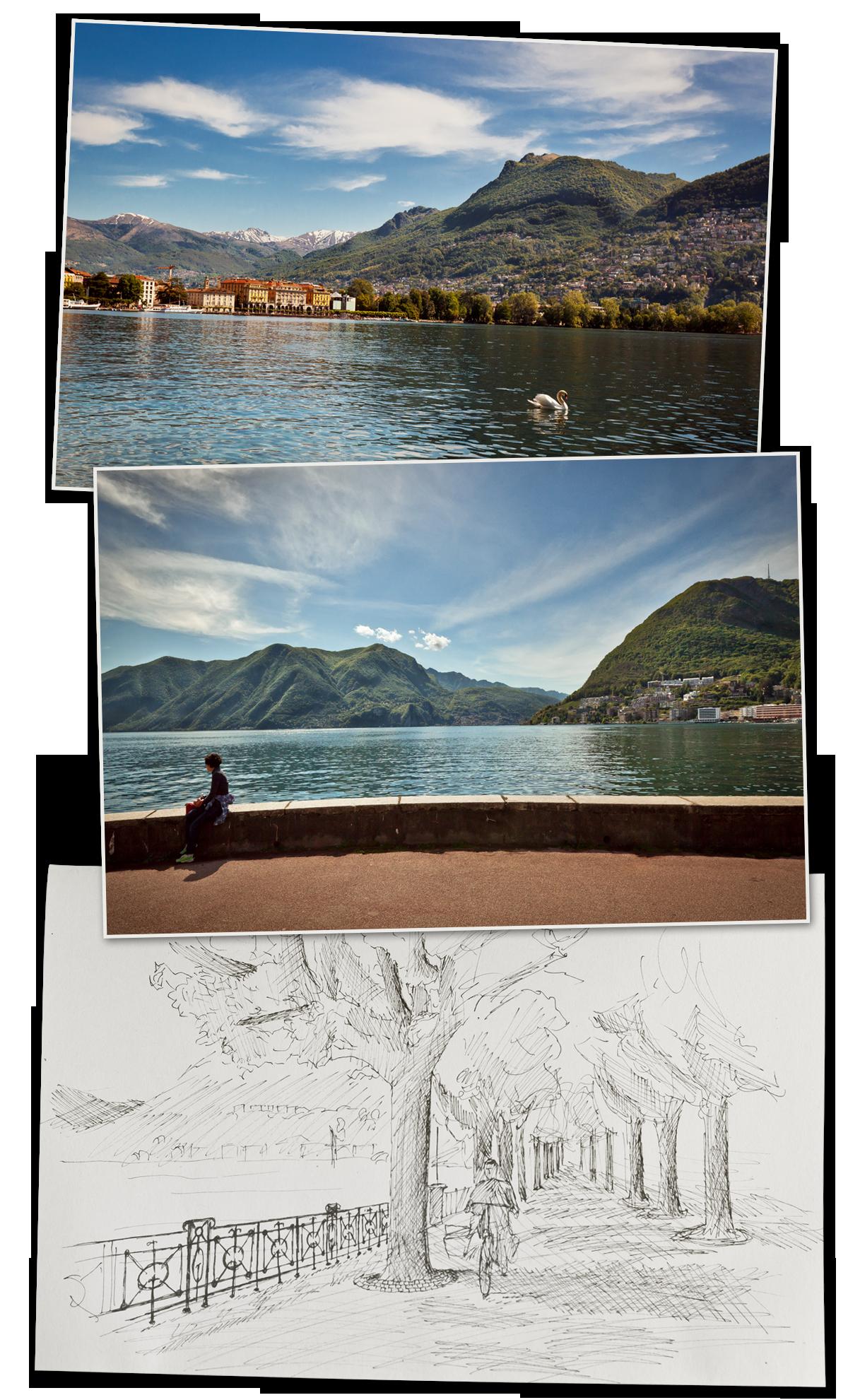Lugano, promenade au bord du lac