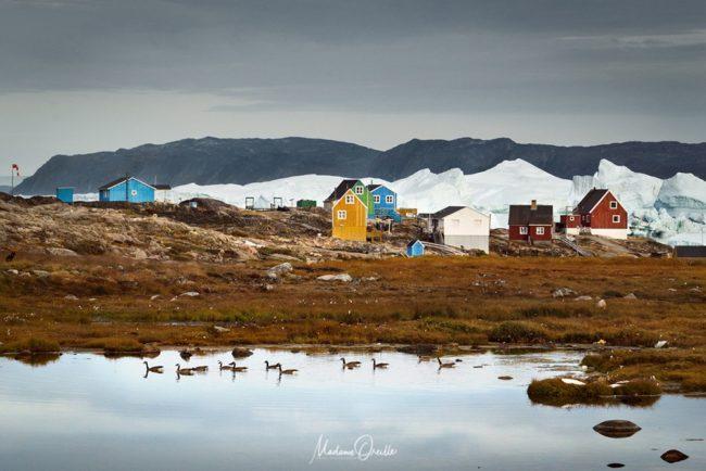 Icebergs derrière un village, Groenland