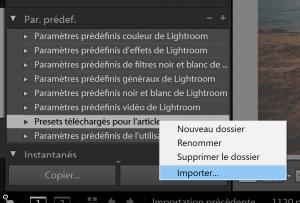 pour importer un preset sur lightroom : clic droit puis importer