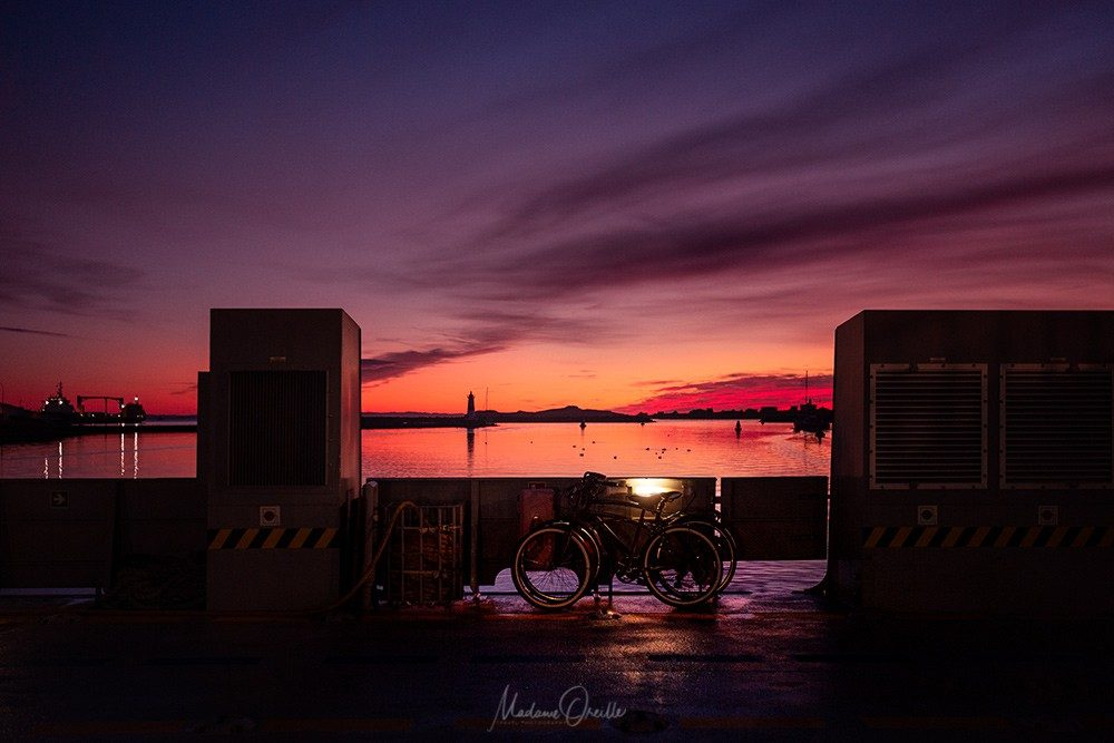 Lever de soleil sur le port de Saint-Pierre depuis le ferry vers Miquelon