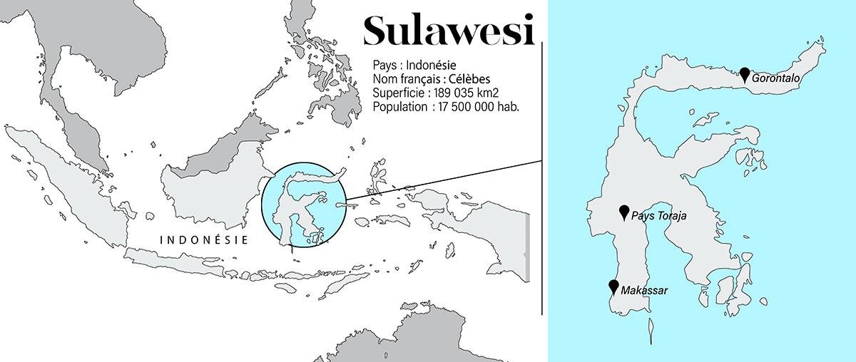 carte célèbes ou sulawesi